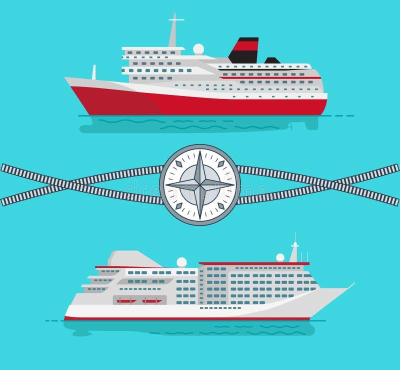 Navi e corda con l'illustrazione di vettore della bussola royalty illustrazione gratis