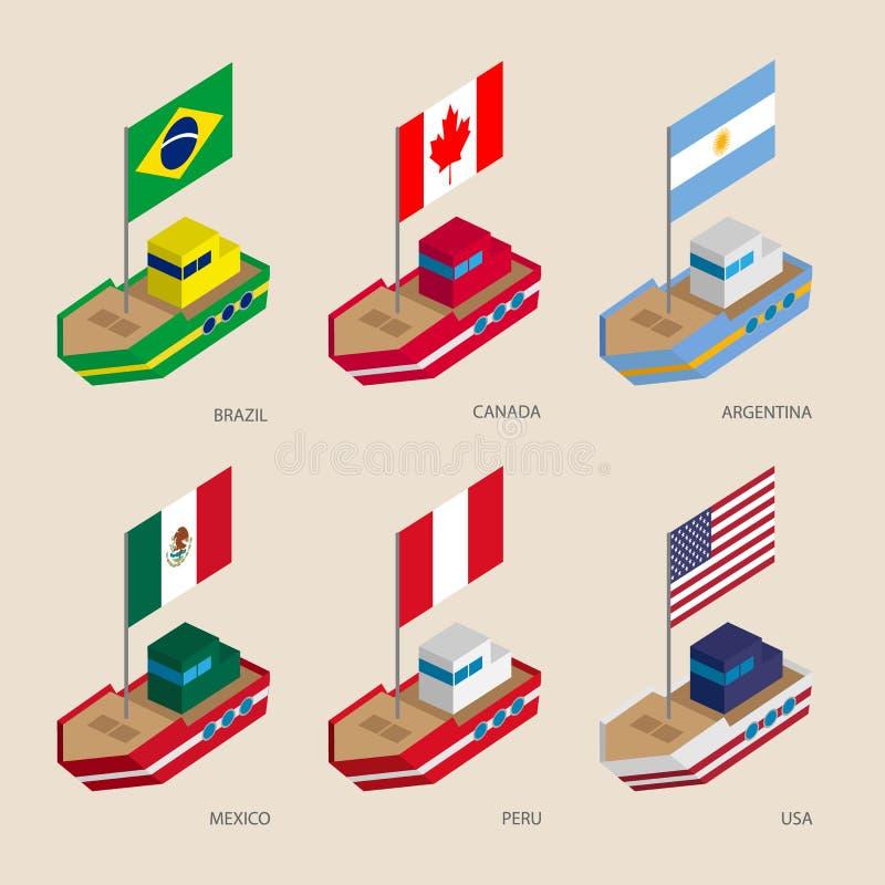 Navi isometriche con le bandiere: Il Canada, U.S.A., Argentina, Perù, Brasile, Messico illustrazione di stock
