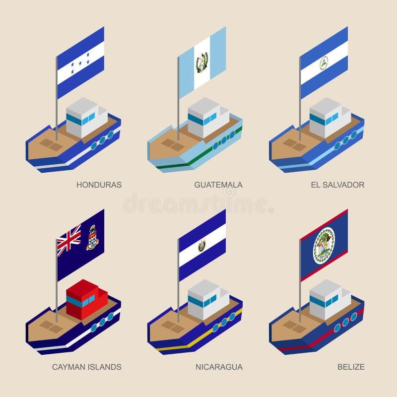 Navi isometriche con le bandiere: L'Honduras, Guatemala, Salvador, Nicar illustrazione vettoriale