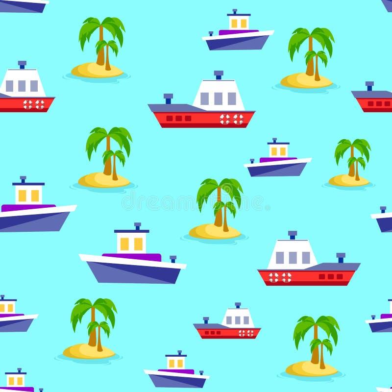 Navi in mare Reticolo senza giunte Illustrazione di vettore illustrazione di stock
