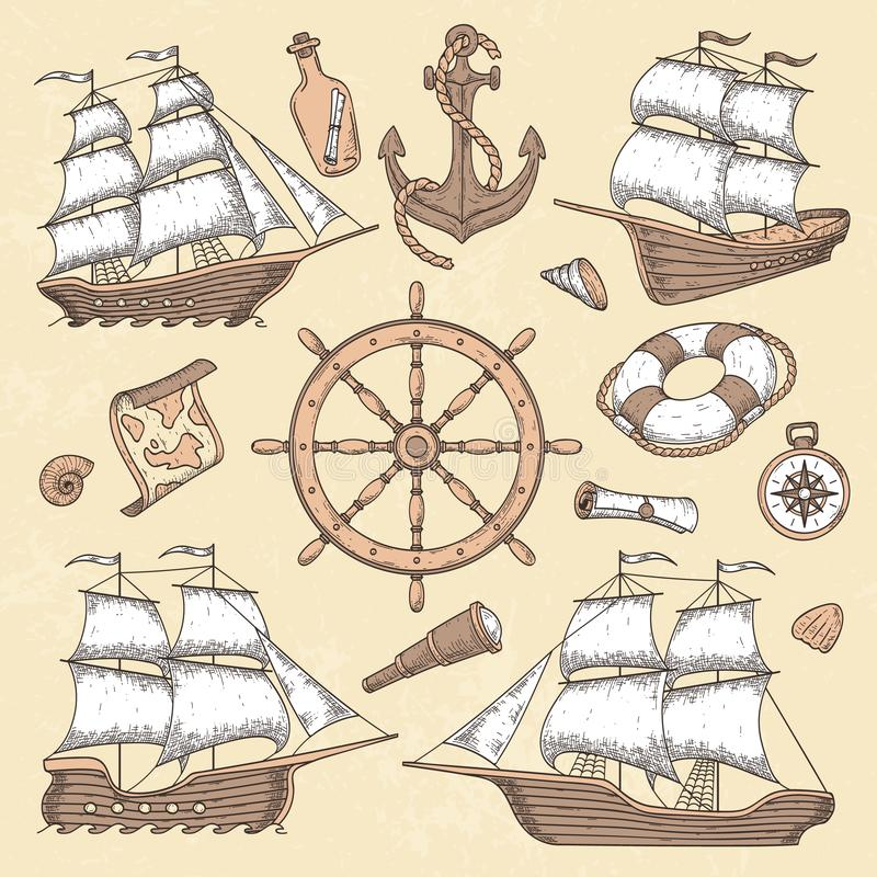 Navi marine d'annata Vecchie struttura del cartiglio, ancora della nave e ruota del mare con la bussola antica Vettore della barc illustrazione vettoriale