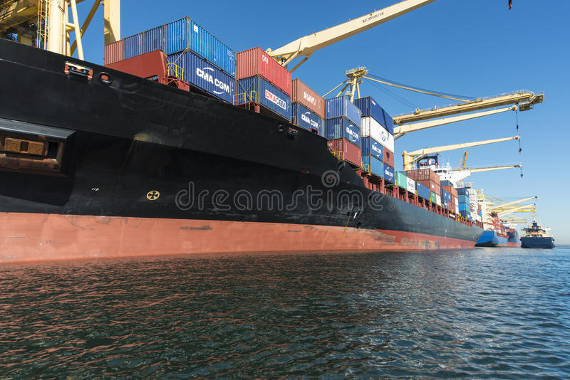 Navi porta-container messe in bacino vicino su fotografia stock libera da diritti