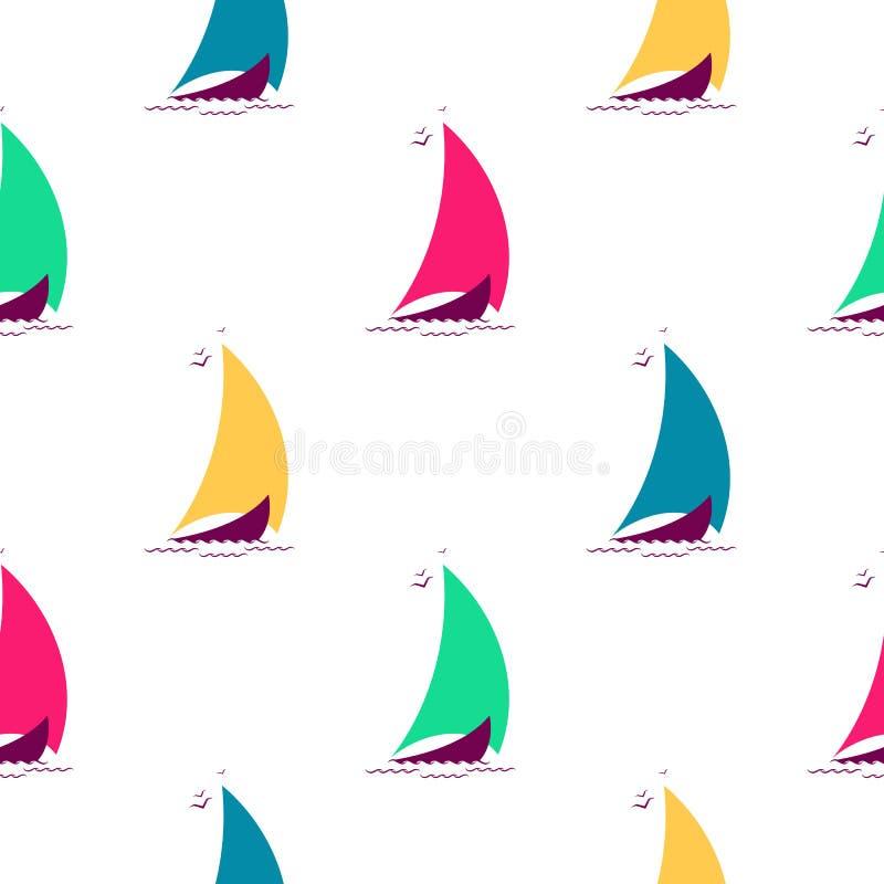 Navi sulle onde nel modello senza cuciture del mare Fondo nautico con le barche a vela multicolori illustrazione di stock