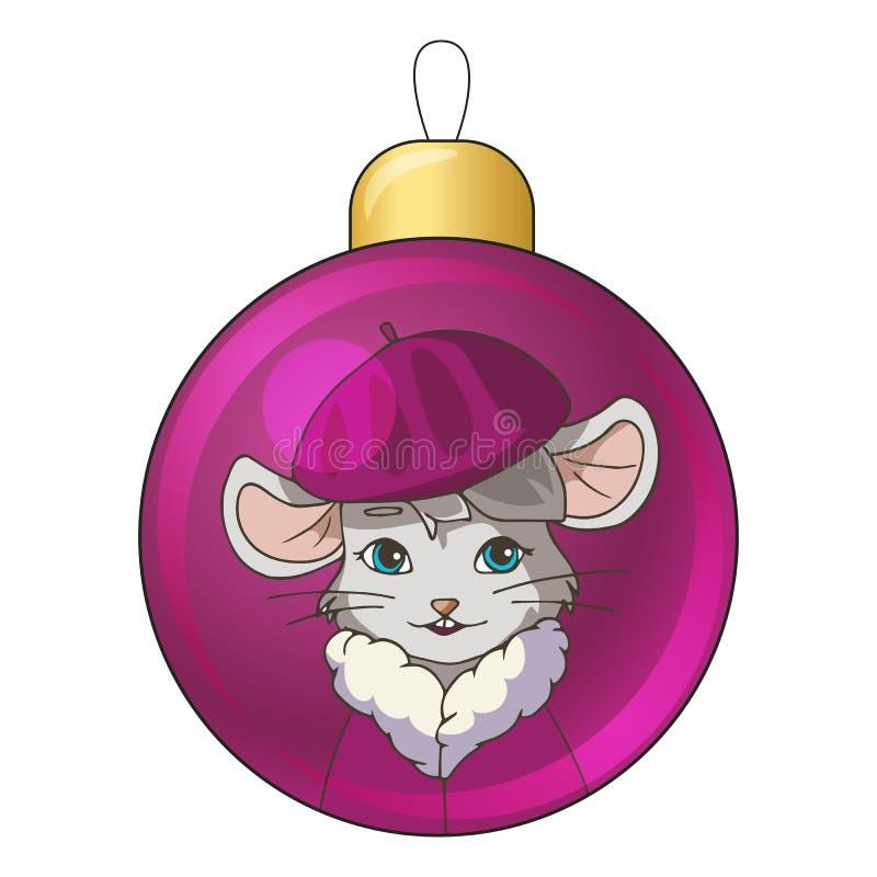Navidad bauble con dibujos de ratones de caricatura usando una boina morada libre illustration