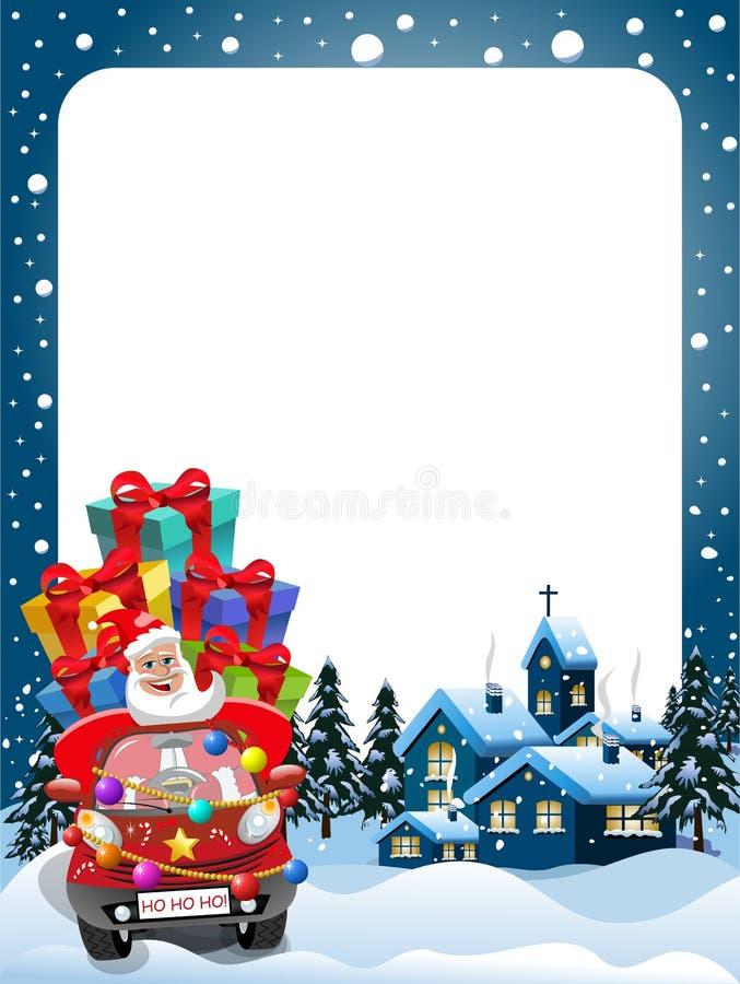 Navidad capítulo a Santa Claus que conduce noche de Navidad de los regalos del coche stock de ilustración