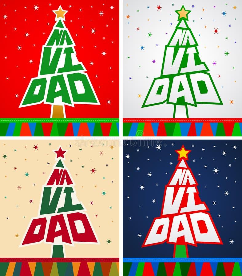 Navidad, Christmas Spanish text Vector Pine Lettering Shape Collection Set vector illustration