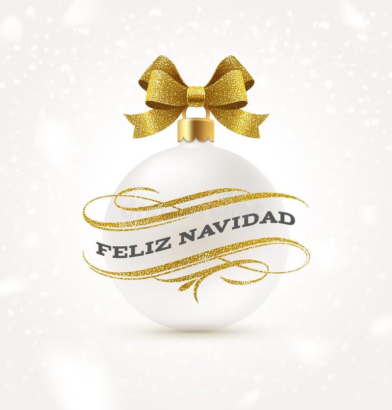 Navidad de Feliz - os cumprimentos do Natal no espanhol com ouro do brilho florescem elementos e quinquilharia do White Christmas ilustração stock
