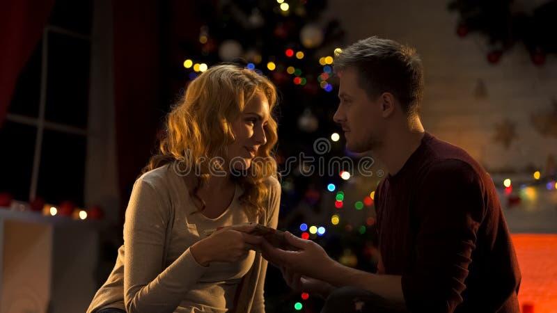 Navidad feliz de donante masculina hermosa de la esposa actual atmósfera maravillosa del día de fiesta, amor foto de archivo libre de regalías