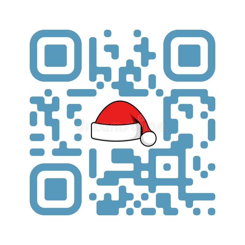 Navidad QR del código legible de Smartphone feliz con el sombrero de Santa Claus stock de ilustración