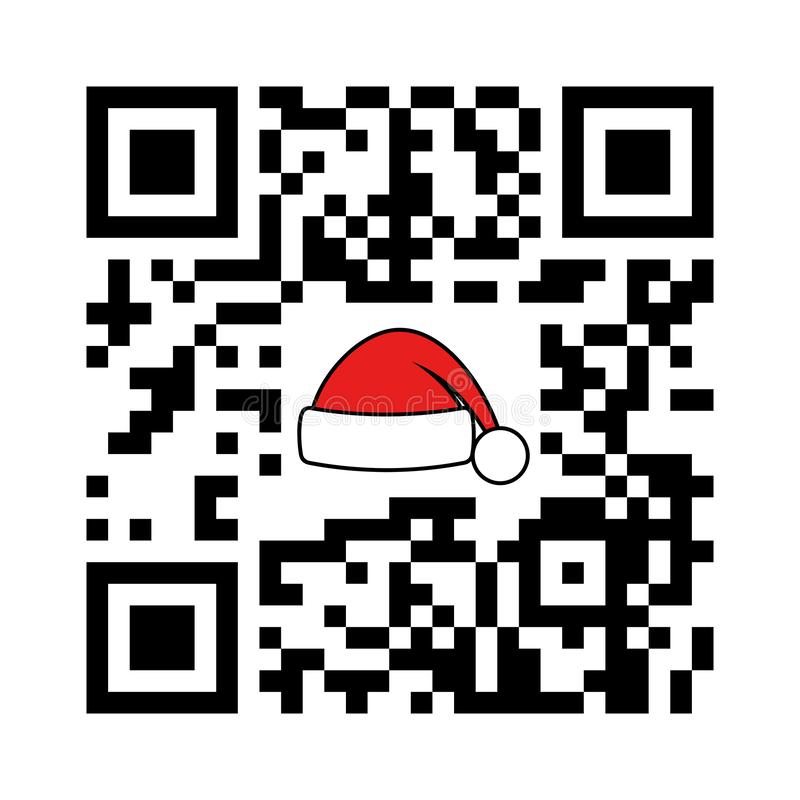 Navidad QR del código legible de Smartphone feliz y Feliz Año Nuevo con el sombrero de Papá Noel libre illustration