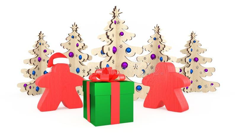 Navidad y Año Nuevo en el estilo de los juegos de mesa Dos Meeples anaranjado hacen una pausa una caja de regalo Árboles de las d ilustración del vector