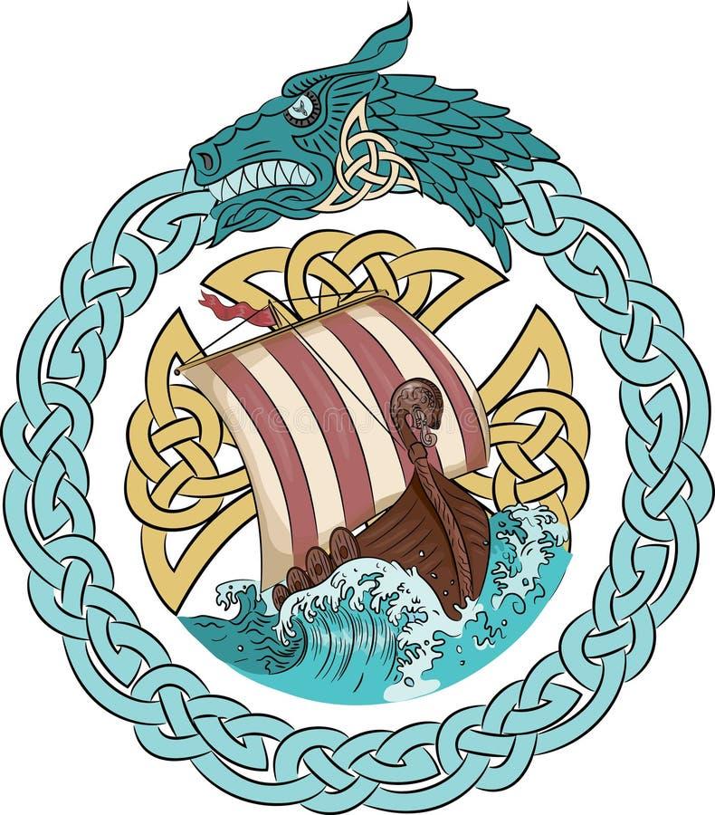 Navigação de Drakkar no mar tormentoso no quadro da grinalda escandinava com um dragon& x27; cabeça de s ilustração do vetor