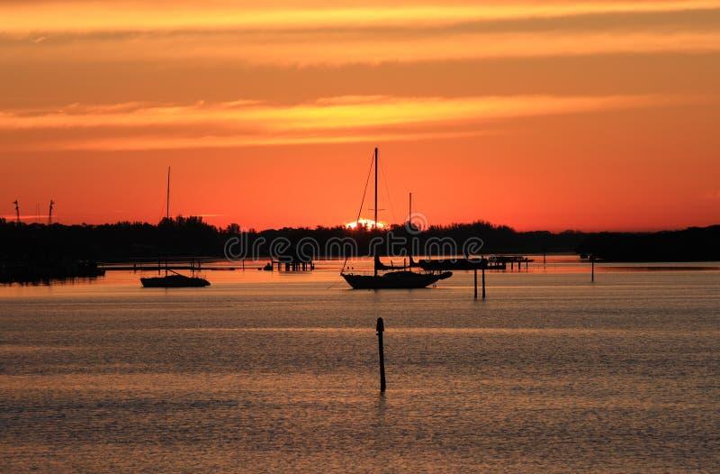 Navigação do amanhecer em Sarasota, Florida imagem de stock royalty free