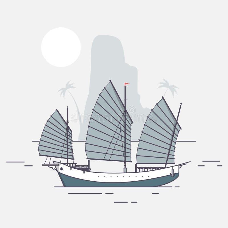 Navigação do barco da sucata que chega à ilustração tropical do vetor da ilha ilustração stock