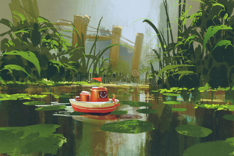 Navigação do barco do brinquedo no rio na floresta ilustração do vetor