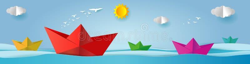 Navigação do barco do origâmi da paisagem no oceano, na arte do papel e no estilo digital do ofício, conceito da liderança, ilust ilustração royalty free