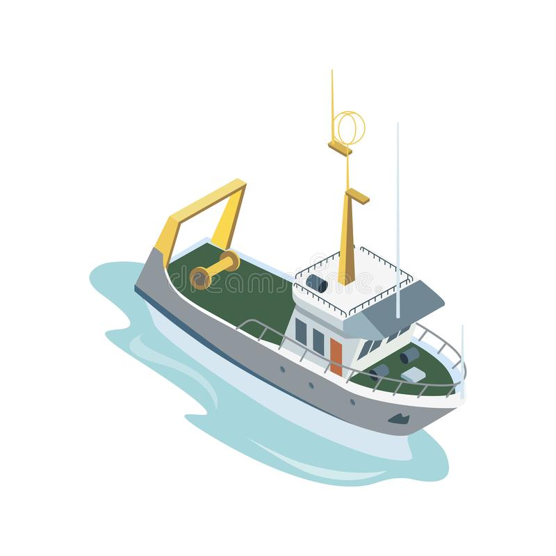 Navigação do bote no oceano ilustração royalty free