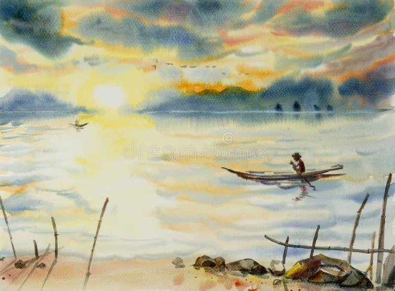 Navigação do homem da pesca no lago Pintura da aguarela ilustração do vetor