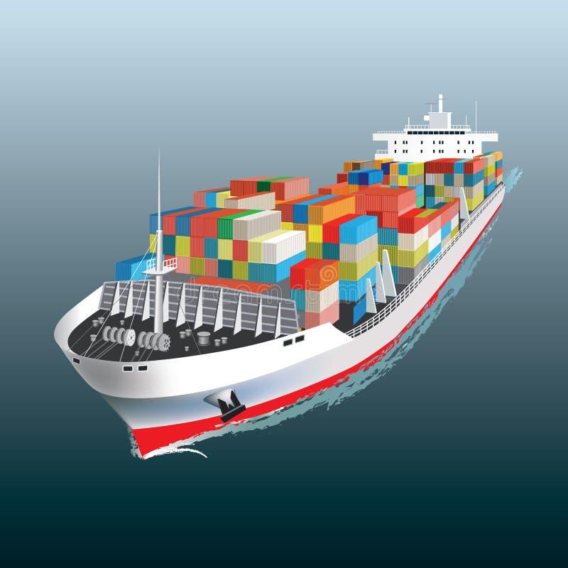 Navigação do navio de carga ilustração royalty free
