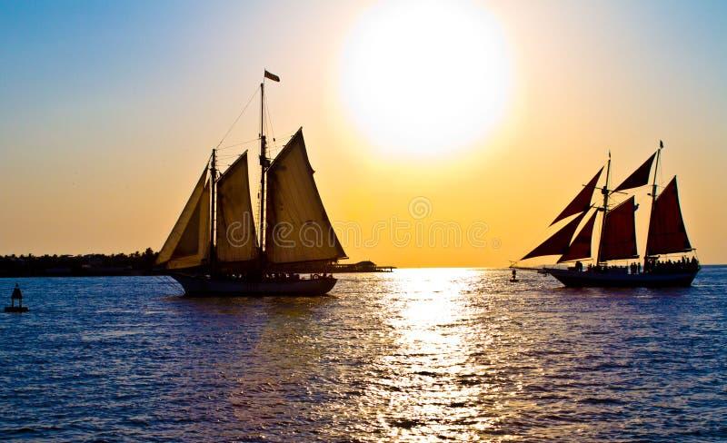 Navigação do por do sol de Key West imagens de stock