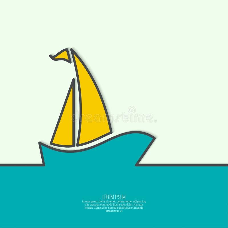 Navigação do Sailboat no mar ilustração royalty free