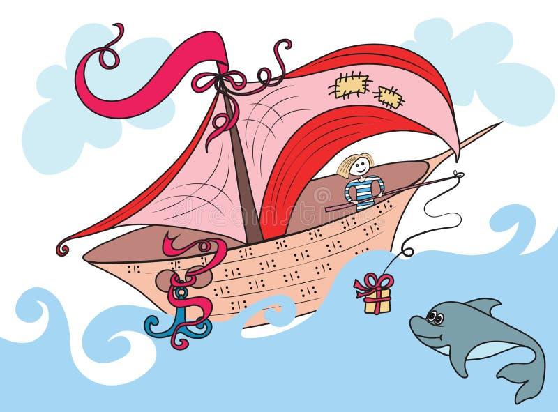 A navigação fabulosa do barco no oceano, o marinheiro jogou a bordo um presente do golfinho na haste imagem de stock royalty free