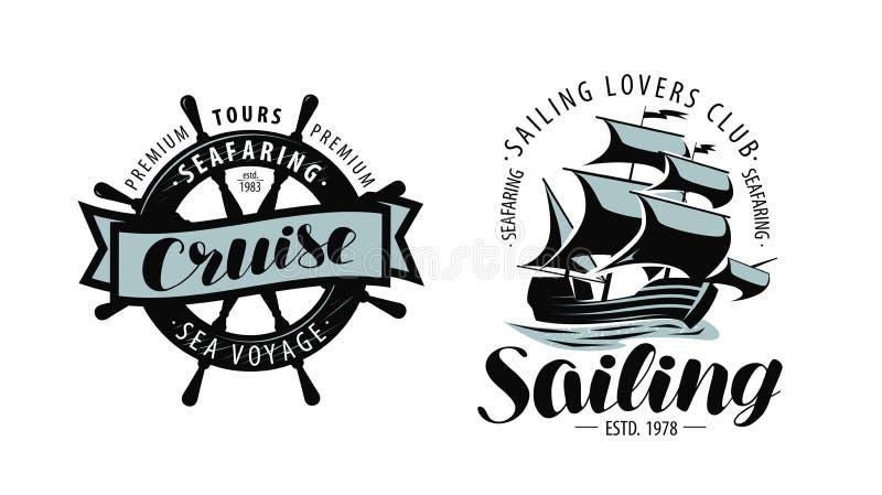 Navigação, logotipo do cruzeiro ou etiqueta Temas marinhos Vetor ilustração royalty free
