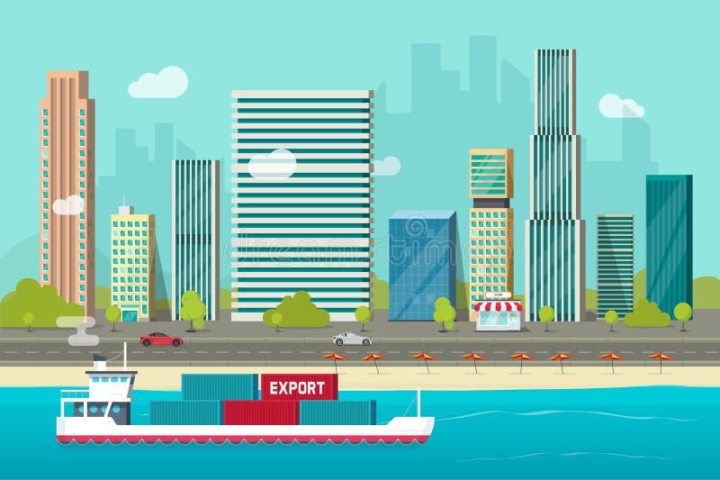 Navigação marítima pesada do navio de recipiente no oceano ou no porto marítimo com vetor dos recipientes de carga, transporte li ilustração royalty free
