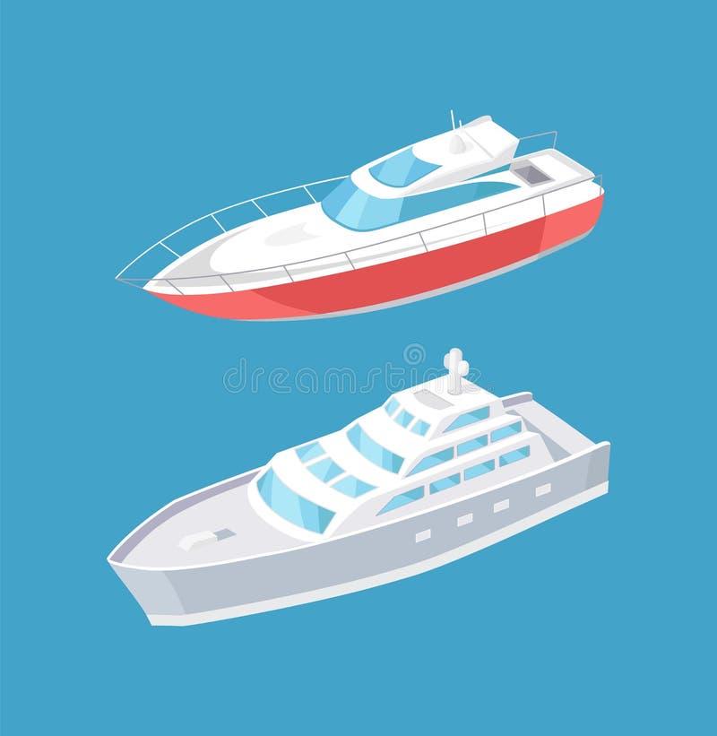 Navigação moderna dos iate no navio a vapor profundo da água azul ilustração stock