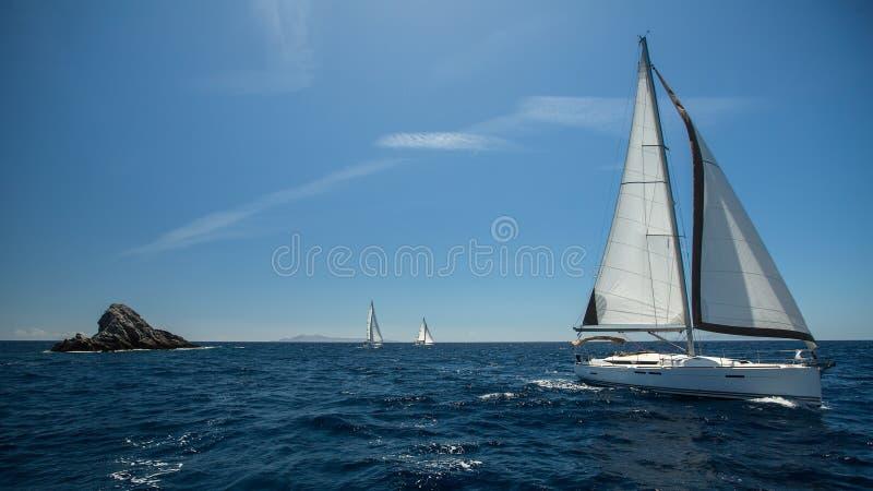 Navigando nel vento attraverso le onde immagine stock libera da diritti