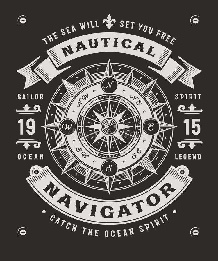 NavigatörTypography On Black för tappning nautisk bakgrund stock illustrationer