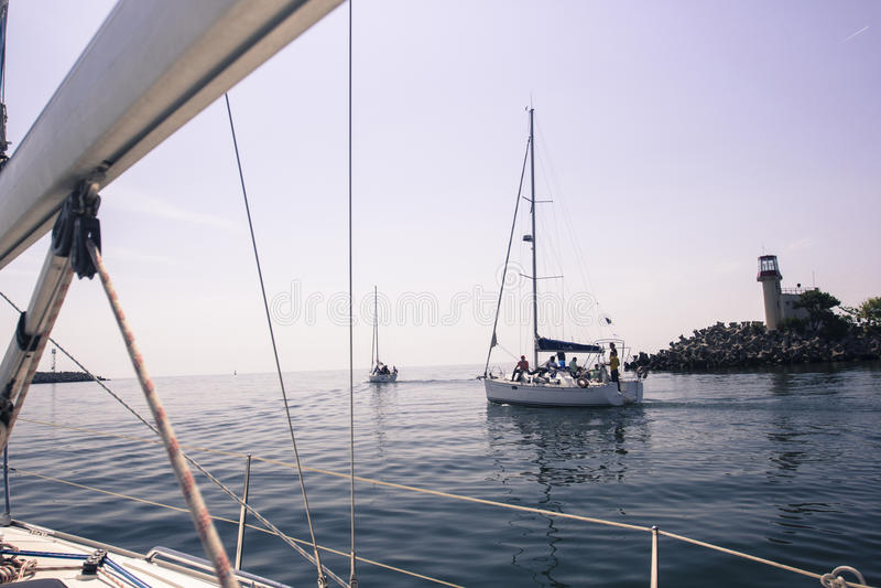 Navigate on the sea stock image