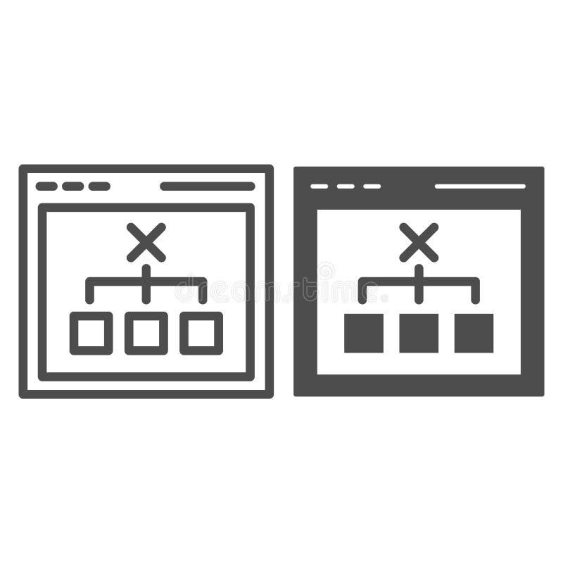 Navigateur avec la ligne et l'icône bien choisies de glyph Illustration de vecteur de concept de décision d'ordinateur d'isolemen illustration de vecteur