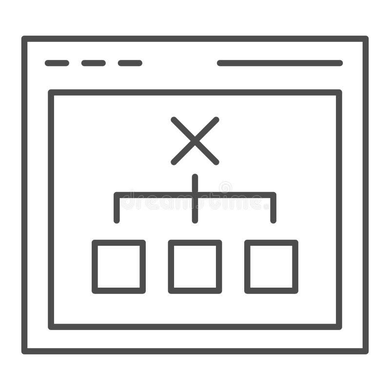 Navigateur avec la ligne mince bien choisie icône Illustration de vecteur de concept de décision d'ordinateur d'isolement sur le  illustration de vecteur