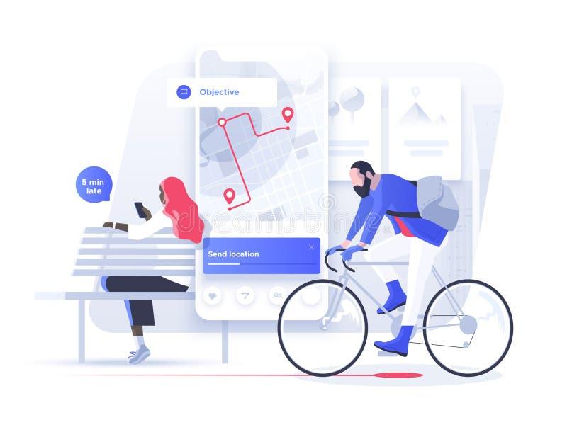 Navigatie app met kaart en plaatsspeld Geschiktheid en het Volgen Mobiel Toepassingenconcept royalty-vrije illustratie