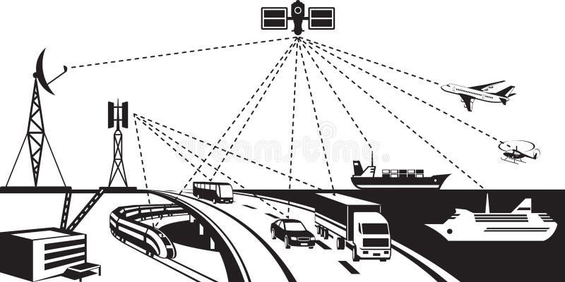 Navigatie en voertuig het volgen royalty-vrije illustratie