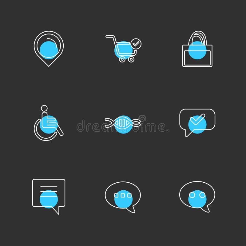 navigatie, kar, winkel, handicap, DNA, bericht, praatje, eps vector illustratie