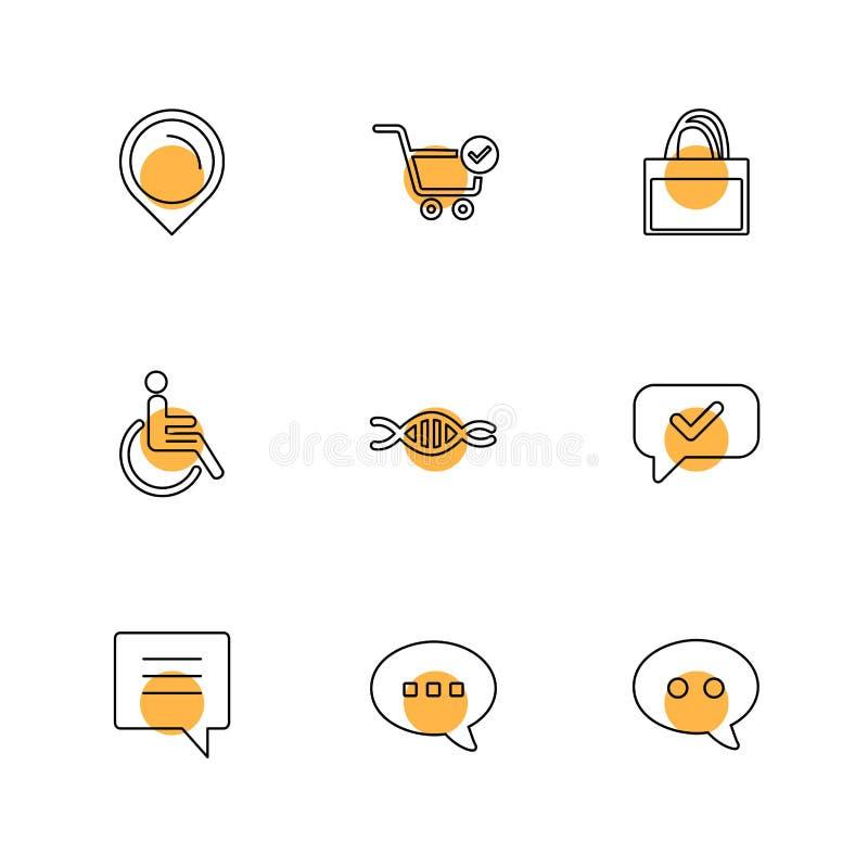 navigatie, kar, winkel, handicap, DNA, bericht, praatje, eps stock illustratie