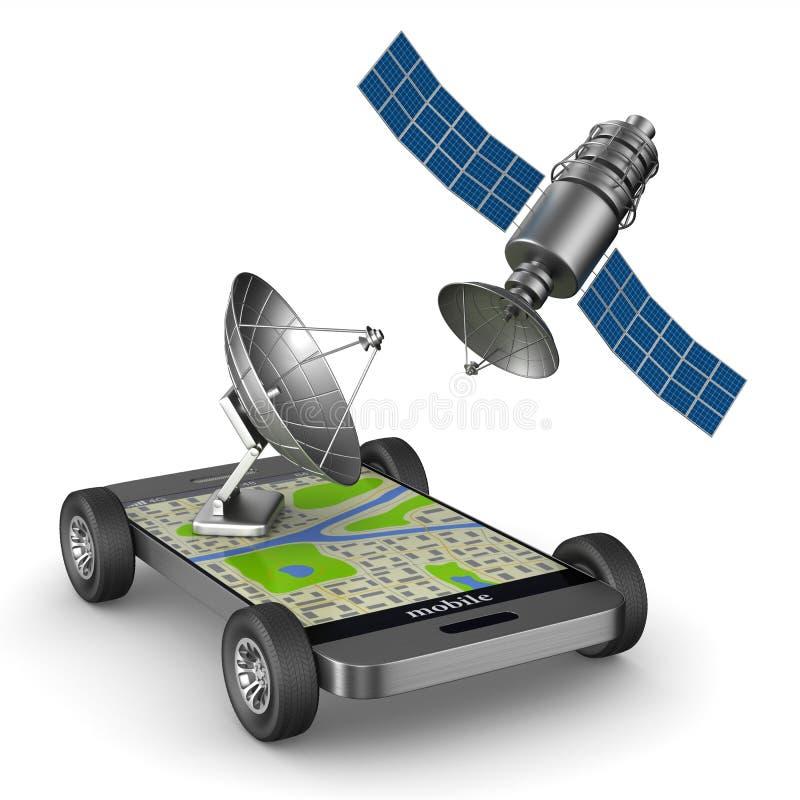 Navigatie in telefoon Geïsoleerde 3d illustratie royalty-vrije illustratie