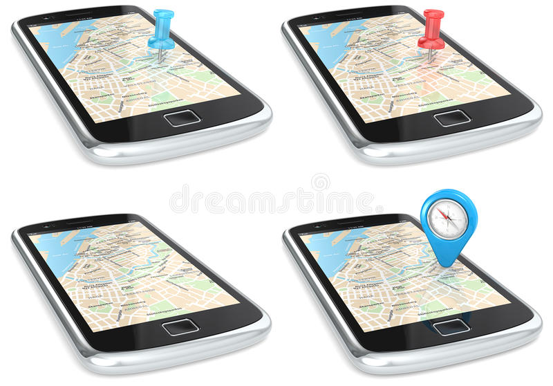 Navigatie via Smartphone. stock illustratie