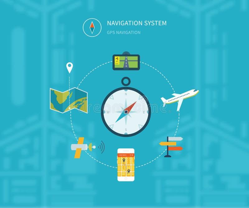 Navigatie vlakke die pictogrammen met gps van het de dienstonderzoek worden geplaatst royalty-vrije illustratie