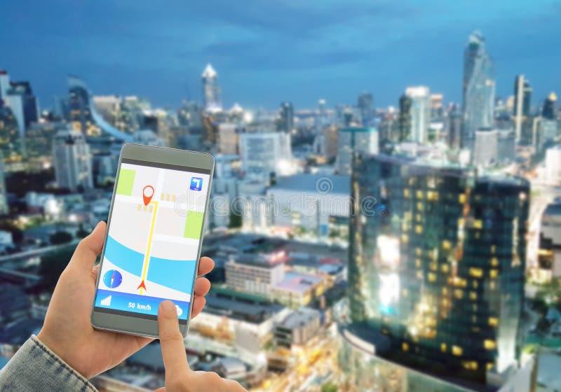 Navigatiesysteem of GPS-smartphone stock foto's