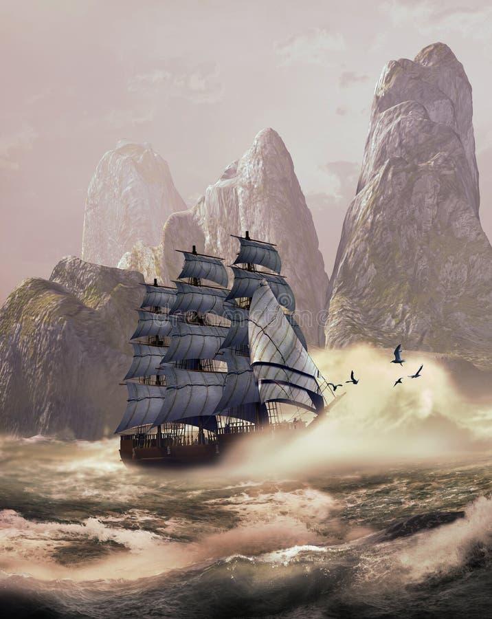 Navigating by dream landscapes stock illustration