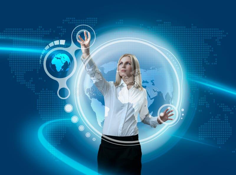 Navigating Future Globe Interface stock image