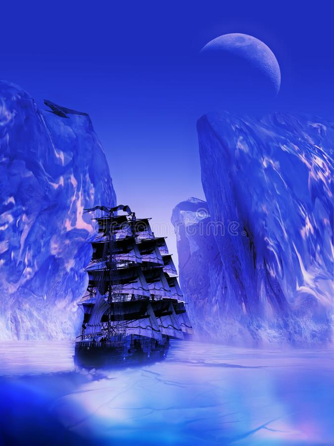Navigating through ice and cold. Sailboat navigating through ice and cold, close to gigantic icebergs under the Moon vector illustration