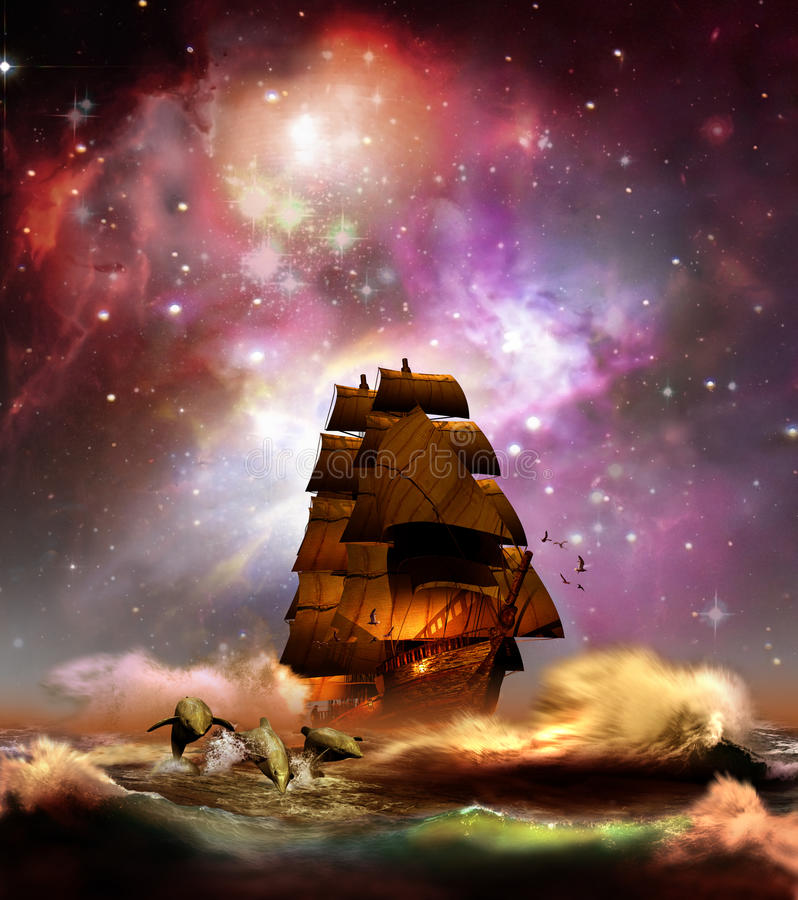 Navigating under Stars. Sailboat, escorted by dolphins, navigating at night on an unsettled sea, under an awesome view of the universe