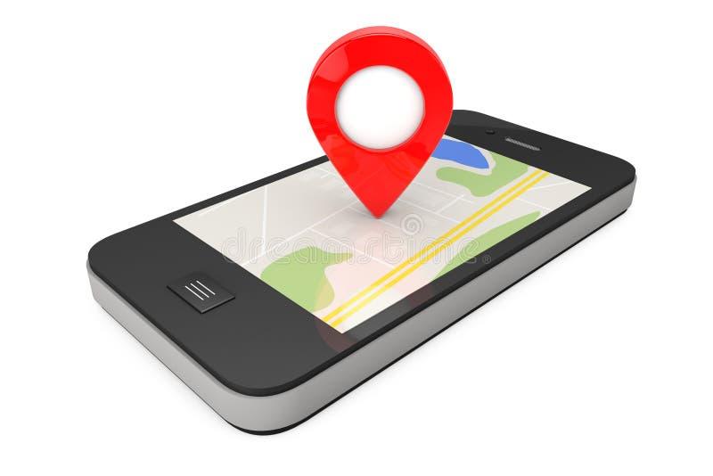 Navigation über Smartphone Standort-Zeiger am Telefon mit Karte 3 vektor abbildung
