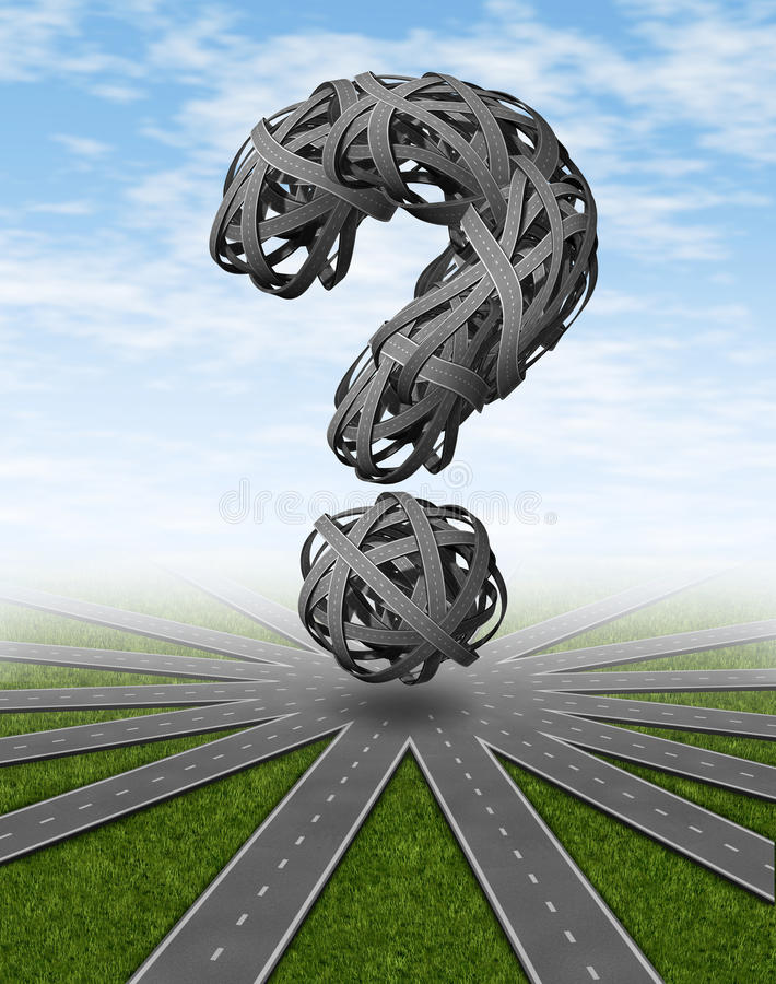 Navigation. And places to go travel symbol with a network of connected roads and a dimensional question mark made of tangled confused highways as a concept of stock illustration