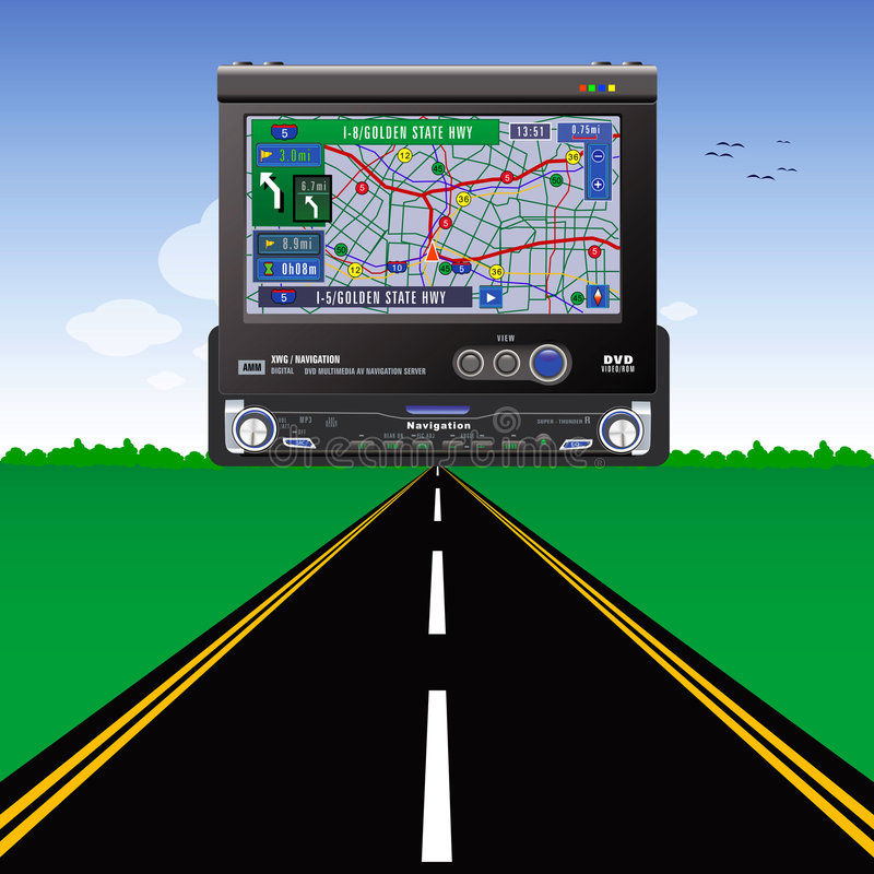 Navigation. Road, grass and blue sky stock illustration