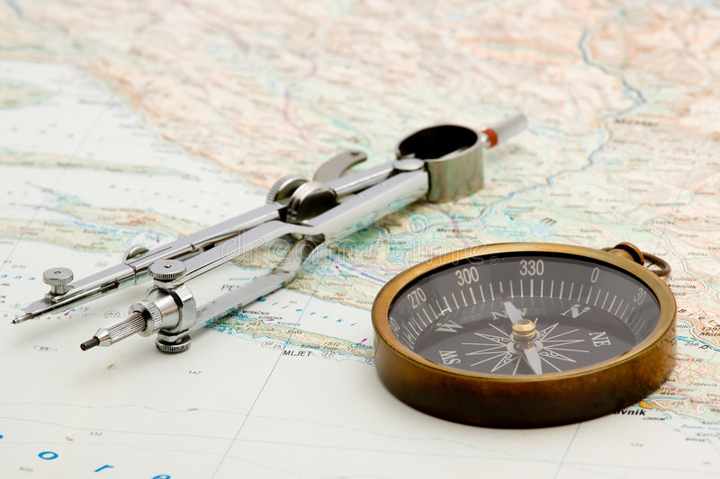 Navigation. Boat navigation - compass and marine map studio isolated stock images